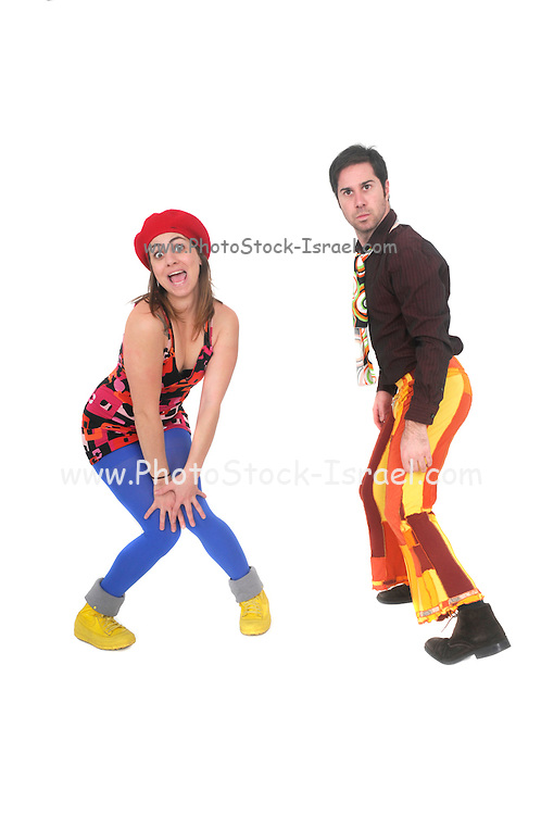 comic 70s style couple disco dancing On white Background