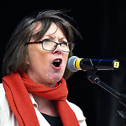 Speaker Frances O'Grady rally of a UN Anti-Racism Day Demonstration and march of  the horrific Islamophobic terrorist attack on a mosque in Christchurch, New Zealand, that has left 49 dead on 16 March 2019, opposite Downing Street, London, UK.