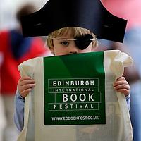 Louie Anderson Moncrief dressed as a pirate with his Edinburgh Book Festival bag, at the Edinburgh International Book Festival, August 18th, 2011.