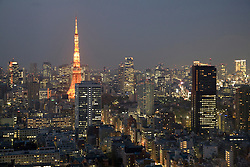 Asia, Japan, Tokyo, Tokyo Tower and other buildings of Tokyo skyline at dusk