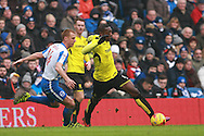 Burton Albion striker Marvin Sordell (9) gets the better of Brighton & Hove Albion central midfielder Steve Sidwell during the EFL Sky Bet Championship match between Brighton and Hove Albion and Burton Albion at the American Express Community Stadium, Brighton and Hove, England on 11 February 2017. Photo by Bennett Dean.