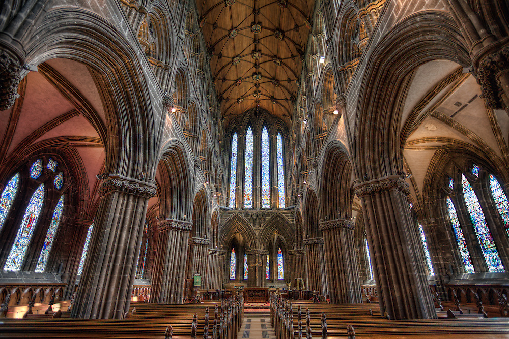 The Glasgow Cathedral, also called the High Kirk of Glasgow or St Mungo's Cathedral, was built before the Reformation from the late 12th century onwards serving as the seat of the Bishop and later the Archbishop of Glasgow. It is located right in the heart of Scotland's largest city and features beautiful stained glass windows. Beneath the main building is another church which contains the tomb of St Mungo. It is a remarkable example of Scottish Gothic architecture. It is also one of the few Scottish medieval churches to have survived the Reformation not unroofed.