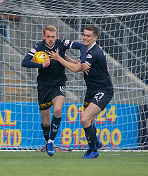 Falkirk's Zak Rubben cele scoring their goal. Falkirk 1 v 2 Alloa Athletic, Scottish Championship game played 6/4/2019 at The Falkirk Stadium.
