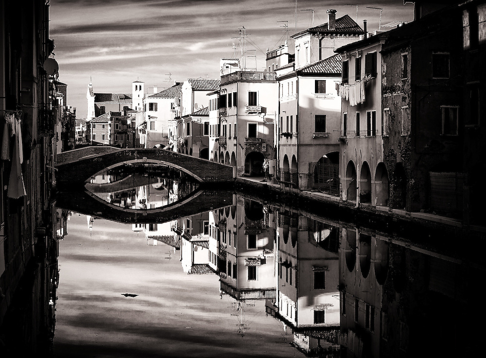 Italy - Chioggia - Water channel reflection BW