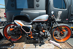 A custom turbo HD 750 Street from Yellowstone Harley-Davidson at the Harley-Davidson display at 4th and Lazelle during the 75th Annual Sturgis Black Hills Motorcycle Rally.  SD, USA.  August 2, 2015.  Photography ©2015 Michael Lichter.