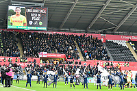 Football - 2018 / 2019 Sky Bet EFL Championship - Swansea City vs. Millwall<br /> <br /> tribute on big screen to milano sala, at The Liberty Stadium.<br /> <br /> COLORSPORT/WINSTON BYNORTH