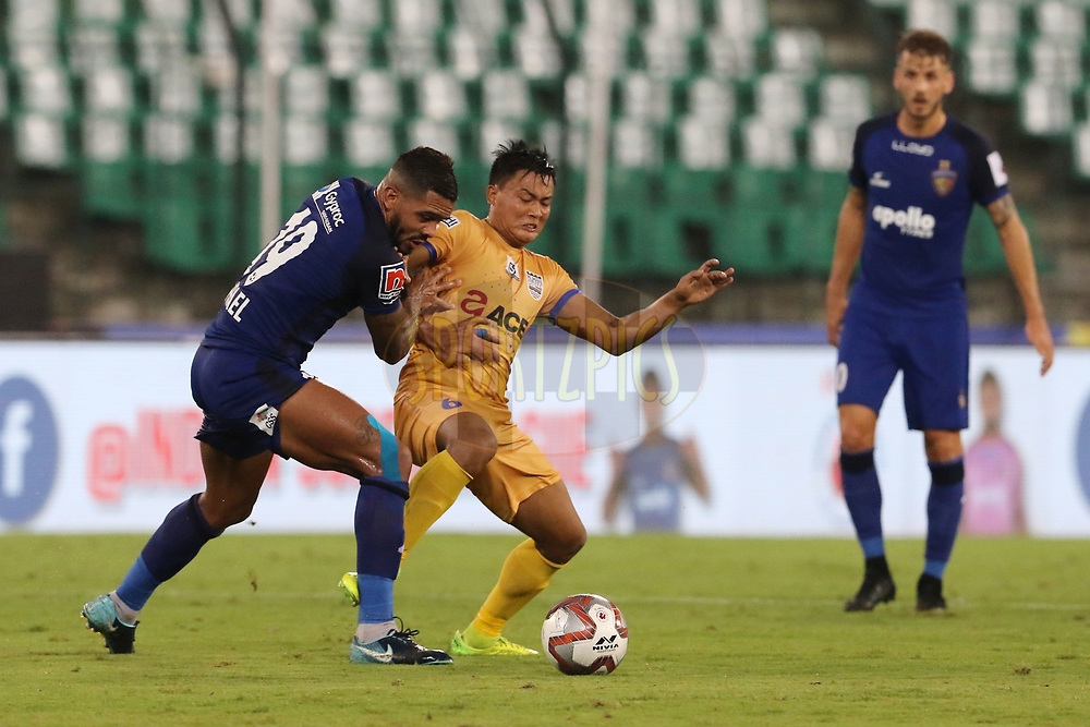 Raphael Augusto of Chennaiyin FC and Milan Singh of Mumbai City FC in action during match 27 of the Hero Indian Super League 2018 ( ISL ) between Chennaiyin FC  and Mumbai City FC  held at the Jawaharlal Nehru Stadium, Chennai, India on the 3rd November 2018<br /> <br /> Photo by: Vipin Pawar /SPORTZPICS for ISL