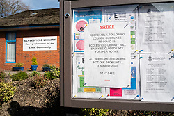Signs of the Corona Virus. Notice board outside Ecclesfield Library Sheffield<br /> 22 March 2020<br /> <br /> www.pauldaviddrabble.co.uk<br /> All Images Copyright Paul David Drabble - <br /> All rights Reserved - <br /> Moral Rights Asserted -