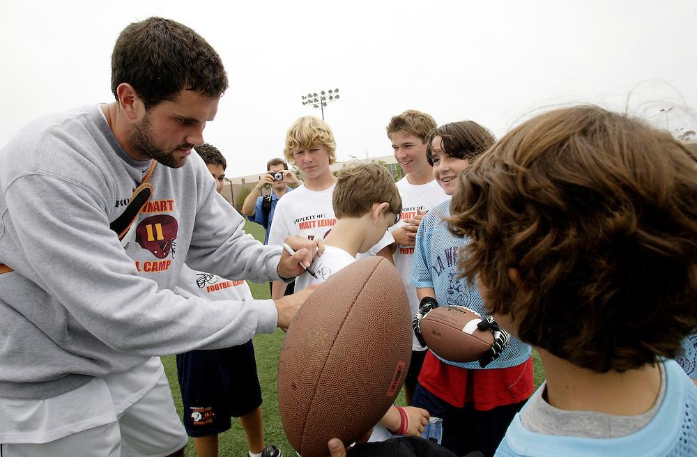 Santa Barbara, CA, July 9, 2007: Matt Leinart at his inaugural Matt Leinart Football Camp held at the University of Santa Barbara, California on July 9, 2007. (Photo by Todd Bigelow/Aurora)