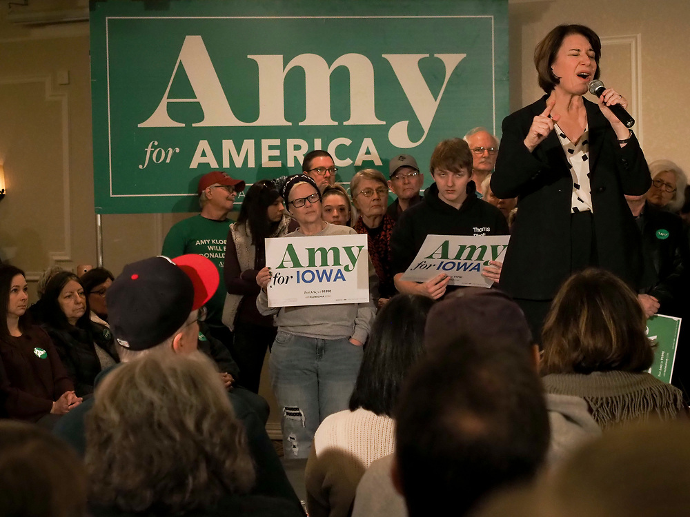 Presidential candidate Amy Klobuchar addresses supporters at her Get Out the Caucus rally in Cedar Rapids, Iowa.