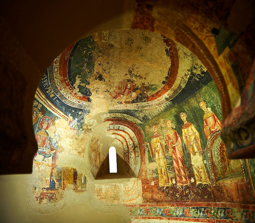 Eleventh Century Romanesque frescoes of the side Apse of Sant Quirze de Pedret showing the parabel of the Ten Virgins from the Gospel of St. Matthew. The church of Sant Quize de Padret, Cercs, Bergueda, Sapin. National Art Museum of Catalonia, Barcelona. MNAC 15973 ..<br /> <br /> If you prefer you can also buy from our ALAMY PHOTO LIBRARY  Collection visit : https://www.alamy.com/portfolio/paul-williams-funkystock/romanesque-art-antiquities.html<br /> Type -     MNAC     - into the LOWER SEARCH WITHIN GALLERY box. Refine search by adding background colour, place, subject etc<br /> <br /> Visit our ROMANESQUE ART PHOTO COLLECTION for more   photos  to download or buy as prints https://funkystock.photoshelter.com/gallery-collection/Medieval-Romanesque-Art-Antiquities-Historic-Sites-Pictures-Images-of/C0000uYGQT94tY_Y