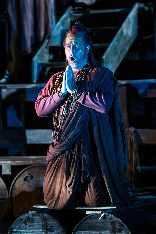 """LONDON, UK, 17 October, 2016.  James Creswell (as """"Nourabad"""") rehearses for the revival of director Penny Woolcock's production of Bizet's opera """"The Pearl Fishers"""" at the London Coliseum for the English National Opera.  The production opens on 19 October."""