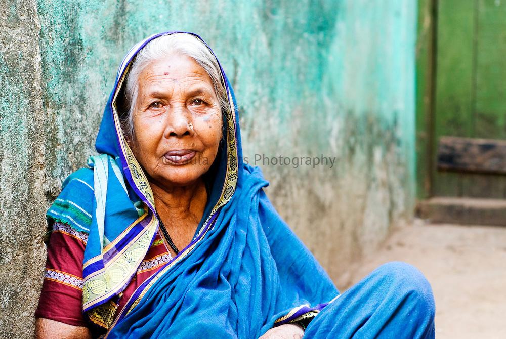 Portrait of elderly Indian woman in Goa India