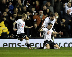 Jason Shackell of Derby County celebrates scoring the opening goal against Reading with Richard Keogh and Johnny Russell - Mandatory byline: Robbie Stephenson/JMP - 12/01/2016 - FOOTBALL - iPro Stadium - Derby, England - Derby County v Reading - Sky Bet Championship