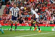 Jose Salomon Rondon of West Bromwich Albion looks to shoot. Barclays Premier League match, Stoke city v West Bromwich Albion at the Britannia stadium in Stoke on Trent, Staffs on Saturday 29th August 2015.<br /> pic by Chris Stading, Andrew Orchard sports photography.