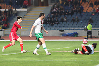 20100303: COIMBRA, PORTUGAL - Portugal vs China: International Friendly. In picture: Hugo Almeida (Portugal, C) and Zhang Lu (China goalkeeper). PHOTO: CITYFILES