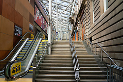 Edinburgh, Scotland, UK. 8 April 2020. Images from Edinburgh during the continuing Coronavirus lockdown. Pictured; Waverley steps inside Waverley railway station closed and deserted. Iain Masterton/Alamy Live News.