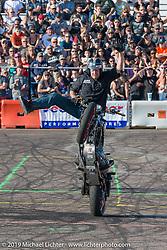 Jason Pullen stunt show at Arizona Bike Week's Cycle Fest at Westworld. USA. April 5, 2014.  Photography ©2014 Michael Lichter.