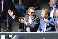 Massimo Cellino, the Leeds United Owner reacts from the stands after Leeds United miss another chance to score. Skybet EFL championship match, Queens Park Rangers v Leeds United at Loftus Road Stadium in London on Sunday 7th August 2016.<br /> pic by John Patrick Fletcher, Andrew Orchard sports photography.