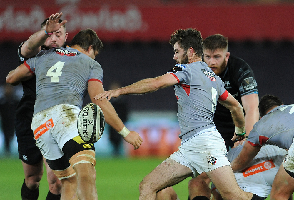 Southern Kings Rowan Gouws looks to clear the danger <br /> <br /> Photographer Ian Cook/CameraSport<br /> <br /> Guinness Pro14 Round 15 - Ospreys v Southern Kings - Friday 16th February 2018 - Liberty Stadium - Swansea<br /> <br /> World Copyright © 2018 CameraSport. All rights reserved. 43 Linden Ave. Countesthorpe. Leicester. England. LE8 5PG - Tel: +44 (0) 116 277 4147 - admin@camerasport.com - www.camerasport.com