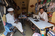 In the tailor's store. Chanoud, Rajasthan, India.