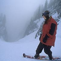 Amy Howatt (MR) rides down The Canyon at Mount Baker Ski Area, Washington.