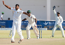 Sri Lanka bowler Dilwuran Perera appeals for a wicket in action during the third day of the 100th test match for Zimbabwe played in a series of two matches with Sri Lanka at Harare Sports Club 31 October 2016.