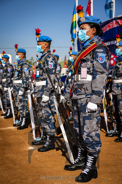 JUBA, SOUTH SUDAN- DECEMBER 23: Member of the Formed Police Unit 1 from Nepal serving with the United Nations Mission in South Sudan during a awarded UN medal ceremony in the UN House, Juba city, South Sudan, on 23 December 2020. Nepal is the world's fourth largest contributor of the uniformed personnel, currently with 5,700, to UN peacekeeping operations. <br /> Photo by UN/Gregorio Cunha