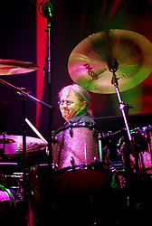 Ian Paice, Drummer with the legendry Rock Band Deep Purple, Rocking the Sheffield City Hall audience on Feb 12 2002. The two hour set,  part of the bands 2002 - 2003 world tour featured many of the old classics, When a Blindman Cries, Hush,Smoke On The Water, Black Night, Woman from Tokyo, Highway Star, Lazy alnong with some of the newer numbers and one Brand new and as yet unrecorded song.