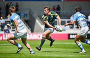 South Africa centre John Jackson looks to pass during the World Rugby U20 Championship 3rd Place play-off  match Argentina U20 -V- South Africa U20 at The AJ Bell Stadium, Salford, Greater Manchester, England on Saturday, June 25, 2016.(Steve Flynn/Image of Sport)