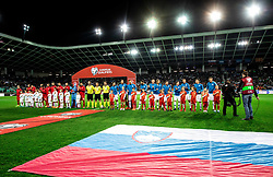 Players listening to the National anthems during football match between National teams of Slovenia and North Macedonia in Group G of UEFA Euro 2020 qualifications, on March 24, 2019 in SRC Stozice, Ljubljana, Slovenia. Photo by Vid Ponikvar / Sportida
