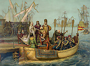 Christopher Columbus (c1451-1506) taking leave of Isabella of Castile and Ferdinand II of Aragon before setting out on his first voyage to the New World, 8 August 1492. Print 1893. America Exploration Navigation