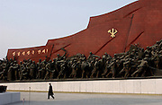 War Memorial and tribute to the Great Leader.Pyongyang A giant bronze statue of Kim Il Sung dominates a Pyongyang hilltop, surrounded by socialist realistic sculptures.