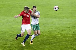 October 8, 2017 - Oslo, NORWAY - 171008  Alexander Sørloth of Norway and Jonny Evans of Northern Ireland during the FIFA World Cup Qualifier match between Norway and Northern Ireland on October 8, 2017 in Oslo..Photo: Fredrik Varfjell / BILDBYRÃ…N / kod FV / 150028 (Credit Image: © Fredrik Varfjell/Bildbyran via ZUMA Wire)