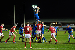 Andrea Zambonin of Italy claims the lineout<br /> <br /> Photographer Craig Thomas/Replay Images<br /> <br /> U20 Six Nations - Wales v Italy  - Friday 31st January 2020 - Stadiwm Zip World (Parc Eirias) - Colwyn Bay<br /> <br /> World Copyright © Replay Images . All rights reserved. info@replayimages.co.uk - http://replayimages.co.uk