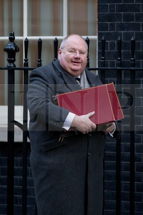 © Licensed to London News Pictures. 26/11/2013. London, UK. The Communities Secretary, Eric Pickles, arrives for a meeting of British Prime Minister David Cameron's Cabinet on Downing Street in London today (26/11/2013). Photo credit: Matt Cetti-Roberts/LNP