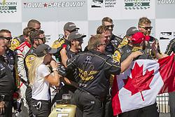 July 8, 2018 - Newton, Iowa, United States of America - JAMES HINCHCLIFFE (5) of Canada wins the Iowa Corn 300 at Iowa Speedway in Newton, Iowa. (Credit Image: © Justin R. Noe Asp Inc/ASP via ZUMA Wire)