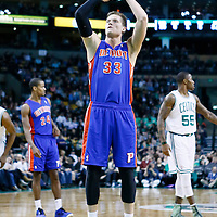 03 April 2013: Detroit Pistons power forward Jonas Jerebko (33) is seen at the free throw line during the Boston Celtics 98-93 victory over the Detroit Pistons at the TD Garden, Boston, Massachusetts, USA.