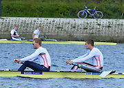 Reading. United Kingdom.  GBR M2-.  Bow. Peter REED and Will SATCH, in the opening strokes of the morning time trial. 2014 Senior GB Rowing Trails, Redgrave and Pinsent Rowing Lake. Caversham.<br /> <br /> 11:07:11  Saturday  19/04/2014<br /> <br />  [Mandatory Credit: Peter Spurrier/Intersport<br /> Images]