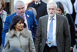 © Licensed to London News Pictures. 01/12/2017. Connah's Quay, UK. Labour party leader JEREMY CORBYN and his wife LAURA ALVAREZ arrive for the funeral of Carl Sargeant, who died four days after stepping down from his post in the Welsh Government after unspecified allegations of sexual harassment were made against him. He had denied the allegations. Photo credit: Joel Goodman/LNP