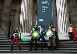 British Museum, London, 27/04/2014<br /> Actors dresssed as vikings stage a protest outside the British Museum. <br /> The Reclaim Shakespeare Company perform an impromptu civil protest, dressed as vikings, to protest against BP's sponsorship of the Vikings exhibition currently on at the British Museum. <br /> The company was formed in response to the sponsorship by petrol companies of the 2012 Olympics and of the general 'greenwash' sponsorship by oil companies of the Arts in Britain. <br /> Photo: Anna Branthwaite/LNP