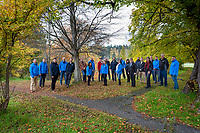The staff at On Point Engineering gather for a team portrait on an autumn day in Victoria, BC.