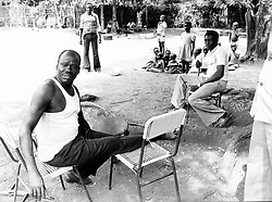Mar 15, 1979; Yei, Sudan; General MUSTAFA ADRISI, the No. 2 man of Idi Amin and the most feared man after Amin in Uganda. He is now living in exile in Southern Sudan with his three wives and 36 children. Adrisi said he still regards himself as Vice President of Uganda. Seated here in the ground of a house in Yei with some of his family in background. (Credit Image: © Keystone Press Agency/Keystone USA via ZUMAPRESS.com)