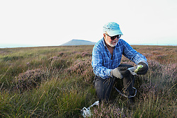 © Licensed to London News Pictures. 06/09/2021. Marsden, UK. Former Colne Valley Labour Councillor Rob Walker volunteers with the National Trust to plant Sphagnum Moss on the Marsden Moor Estate in the South Pennines. Sphagnum Moss, a peat forming plant which helps to reduce flooding and reduce fire risk by acting as a sponge, is being planted to help restore large area of moorland which were devastated by fires in April 2021. Photo credit: Adam Vaughan/LNP