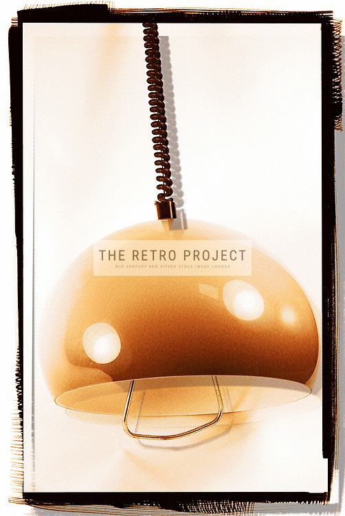 Retro granduated beige to brown Ceiling Light on spiral cord Studio Shot with Dotscreen Overlay and film surround