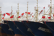 """NINGBO, CHINA - SEPTEMBER 21: (CHINA OUT) <br /> <br /> Thousands of fishing-boat go back to port as typhoon """"Phoenix"""" draws near on September 21, 2014 in Ninbo, Zhejiang province of China. Thousands of fishing-boat took shelter from the typhoon """"Phoenix"""" at port on Sunday.<br /> ©Exclusivepix"""