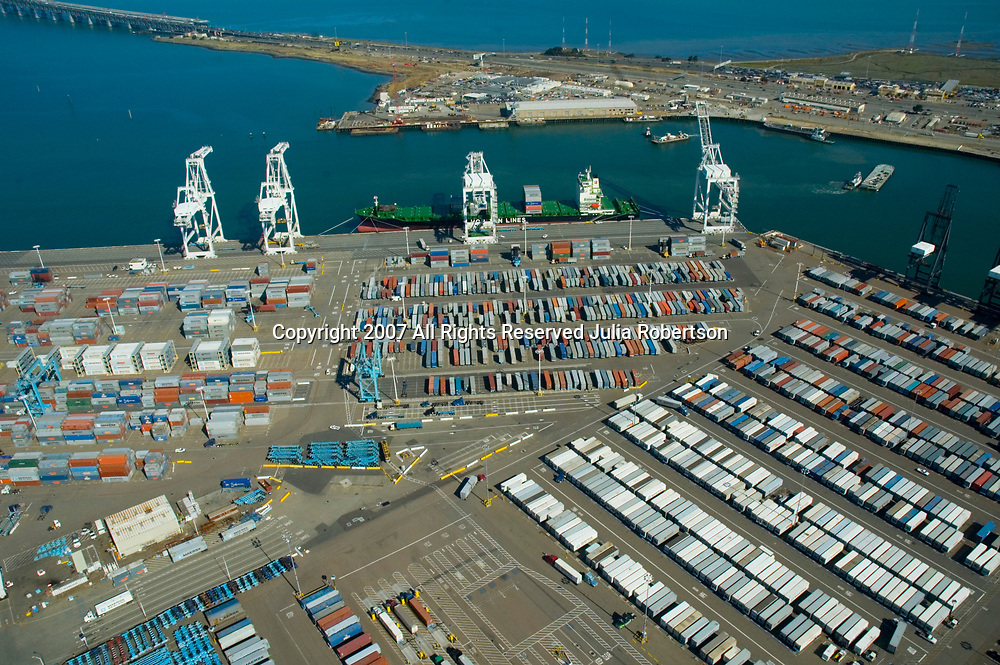Aerial view of Container ships Port of  Oakland, California