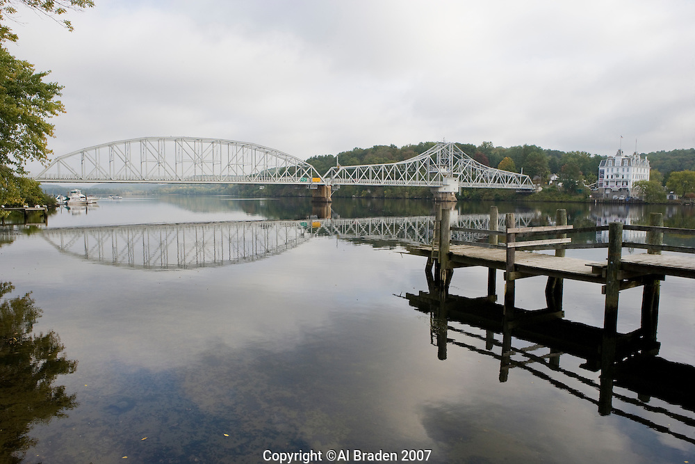 Goodspeed Opera House and Turnstile Bridge over Connecticut River, East Haddam, CT.