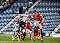 Preston North End's Sean Maguire (left) competing with Nottingham Forest's Yuri Ribeiro <br /> <br /> Photographer Andrew Kearns/CameraSport<br /> <br /> The EFL Sky Bet Championship - Preston North End v Nottingham Forest - Saturday 11th July 2020 - Deepdale Stadium - Preston <br /> <br /> World Copyright © 2020 CameraSport. All rights reserved. 43 Linden Ave. Countesthorpe. Leicester. England. LE8 5PG - Tel: +44 (0) 116 277 4147 - admin@camerasport.com - www.camerasport.com
