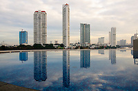 Skyline and pool relfection, Bangkok Thailand.